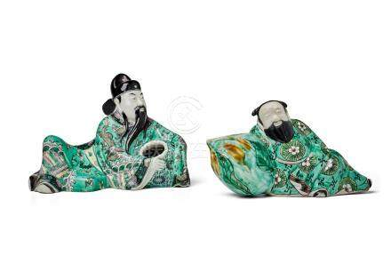 TWO FAMILLE VERTE RECLINING FIGURES  19th century (2)