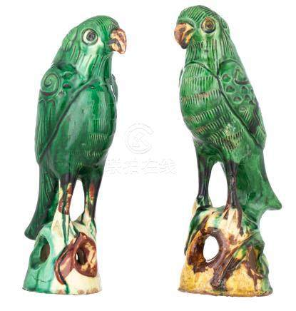 Two Chinese Qianlong type sancai glazed parrots, , H 23 - 24 cm