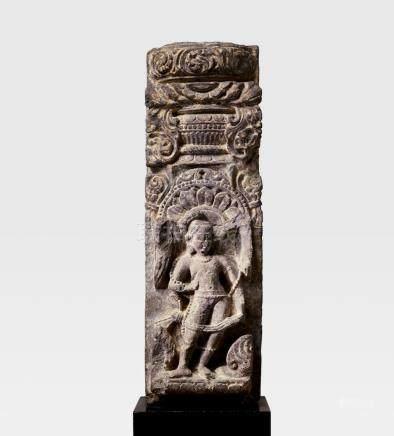 A SANDSTONE GHATAPALLAVA PILLAR WITH A DVARAPALA NORTH INDIA, CIRCA 9TH CENTURY