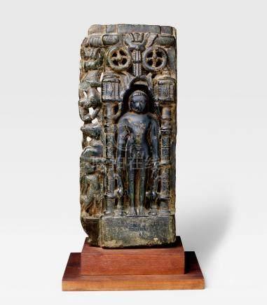 A MARBLE STELE OF A JAIN TIRTHANKARA WESTERN INDIA, CIRCA 15TH CENTURY