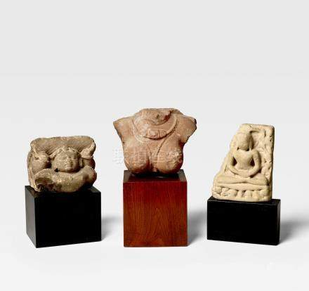 A GROUP OF THREE SANDSTONE SCULPTURES NORTH INDIA, 6TH-12TH CENTURY
