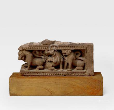 A RED SANDSTONE FREIZE WITH LIONS NORTH INDIA, 10TH/11TH CENTURY