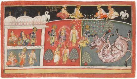 AN ILLUSTRATION FROM A BHAGAVATA PURANA SERIES: KRISHNA SUBDUES THE BULL DEMON ARISTASURA MEWAR, CIRCA 1800