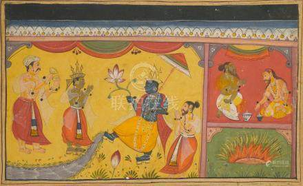 AN ILLUSTRATION FROM A MAHABHARATA SERIES: THE GANGES FLOWING FROM KRISHNA'S TOE  BIKANER, CIRCA 1600-1610