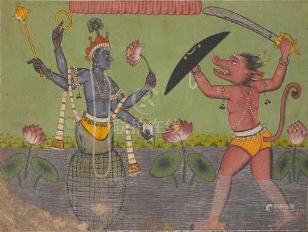 AN ILLUSTRATION FROM A DASHAVATARA SERIES: KURMA AVATAR MANDI, CIRCA 1720