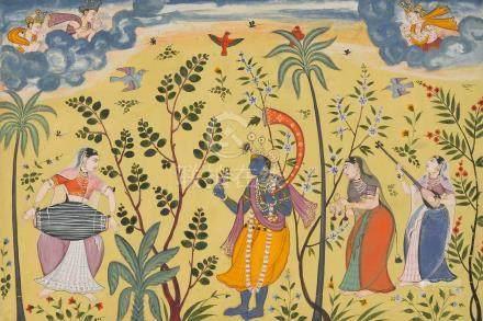 FOLIO 41 FROM THE EARLIEST KSHEMAKARNA RAGAMALA: VASANT PUTRA OF RAGA HINDOLA POPULAR MUGHAL, CIRCA 1610