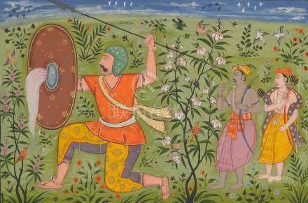 FOLIO 83 FROM THE EARLIEST KSHEMAKARNA RAGAMALA: GUNDA PUTRA OF RAGA MEGHA POPULAR MUGHAL, CIRCA 1610
