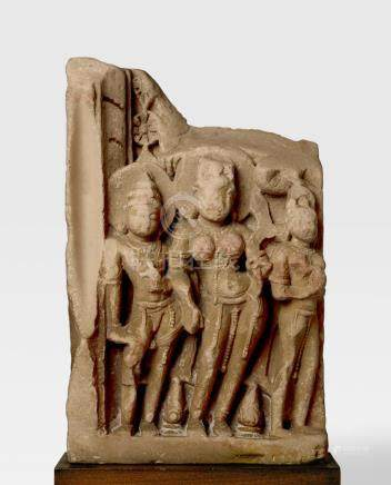 A SANDSTONE STELE WITH A GODDESS NORTH INDIA, CIRCA 11TH CENTURY