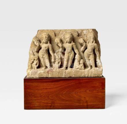 A CHUNAR SANDSTONE STELE WITH BODHISATTVAS OR NAVAGRAHA  NORTH INDIA, UTTAR PRADESH, CIRCA 8TH CENTURY