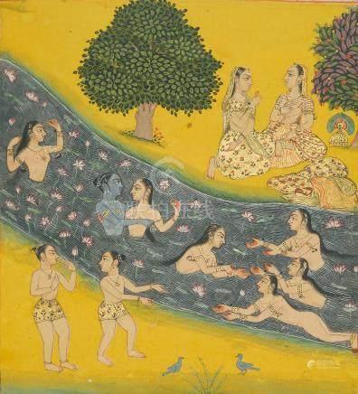 AN ILLUSTRATION FROM A RASIKAPRIYA SERIES:KRISHNA AND THE GOPIS IN THE YAMUNA RIVER BIKANER, CIRCA 1680