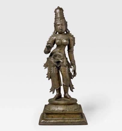 A COPPER ALLOY FIGURE OF PARVATI  SOUTH INDIA, TAMIL NADU, VIJAYNAGARA PERIOD, 15TH CENTURY
