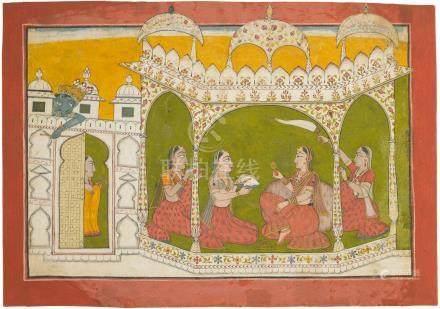 KRISHNA SPYING ON RADHA  NURPUR, CIRCA 1720