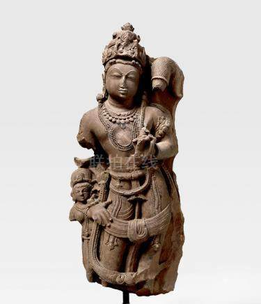 A RED SANDSTONE CHAURI BEARER NORTH INDIA, RAJASTHAN, 10TH CENTURY