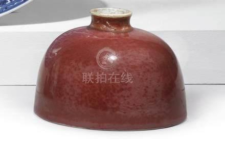 清康熙   豇豆紅釉暗刻團龍紋太白尊 《大清康熙年製》款