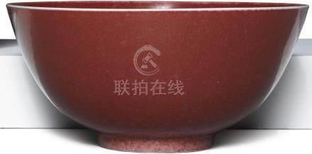 清十九世紀   豇豆紅釉盌 《大清康熙年製》仿款