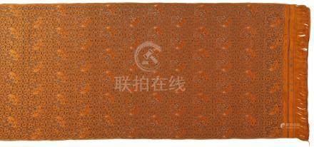 清同治   橘緞織錦地團龍紋料一匹 《江南織造臣忠誠》款