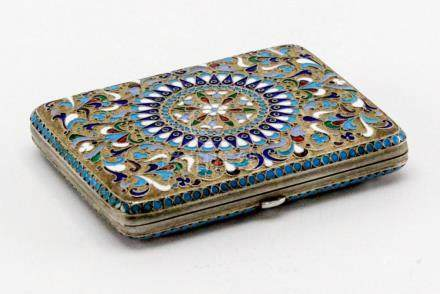 Russian Antique Silver Enamel Cigarette Case