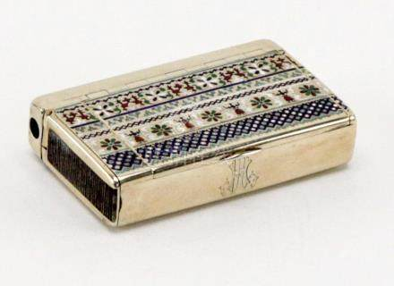 1880 Antique Russian Silver Champleve Enamel Cigarette Case