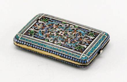 1896 Antique Russian Silver Enamel Money Case