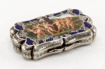 Antique Silver Hand Painted Enamel European Case