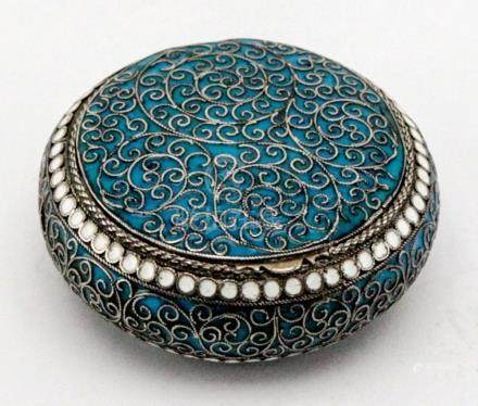 Russian Antique Silver Enamel Pill Box