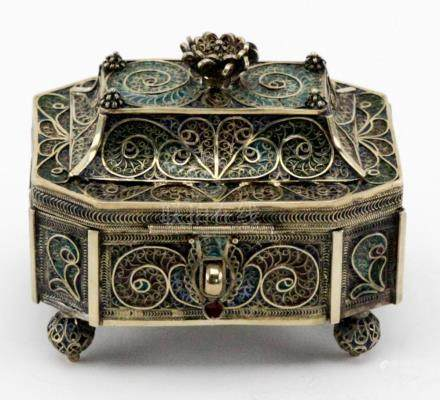Russian Ovchinnikov Silver Filigree Enamel Box