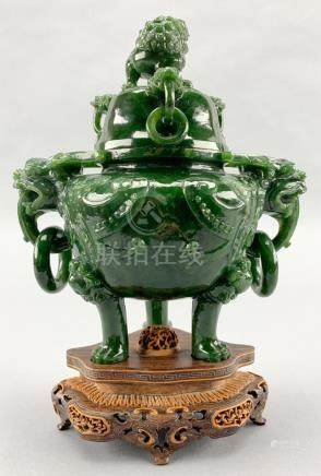 Antique Chinese Spinach Jade Censer Incense Burner