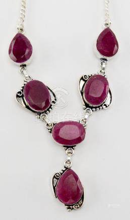 Vintage Ruby Silver Necklace