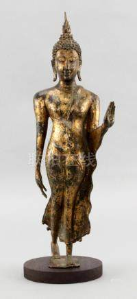 17C. Gilt Bronze Thailand Walking Buddha