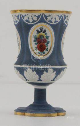 19 Century Russian Hand Painted Porcelain Ceremonial Wine Cu