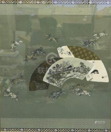 刺繡山水獅紋 框