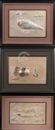 銀制龍鳳猴框