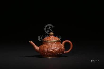 紫砂雲鶴紋壺