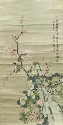 刺繡花鳥圖 軸