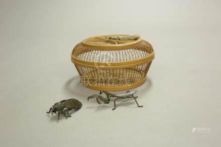 銅蟲,竹籠擺件