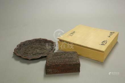 剔紅山水盤*盒