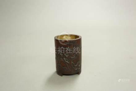 竹靈璧芭蕉紋筆筒