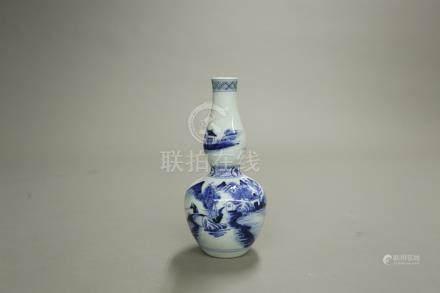 青花山水葫蘆瓶