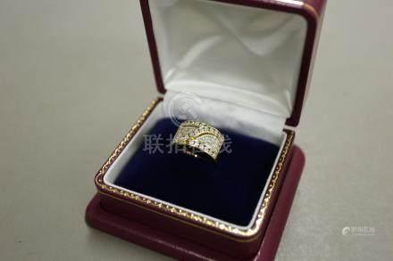 Pt900 K18鑲鑽石戒指
