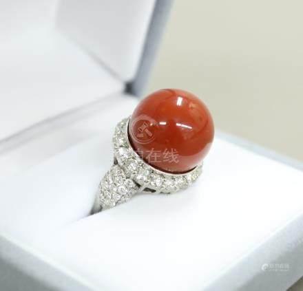 Pt900 大珊瑚球形戒指