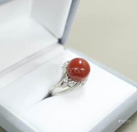 Pt900 小珊瑚球形戒指