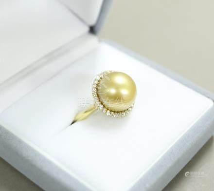 K18 金珠嵌鑽戒指