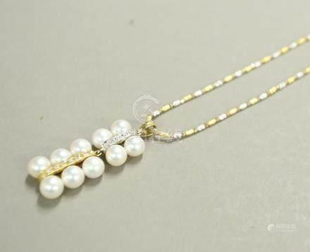 K18 珍珠嵌鑽吊墜項鏈
