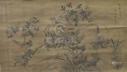 陸包山花鳥絹本 軸