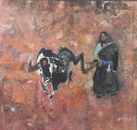 王青牧牛油畫 框