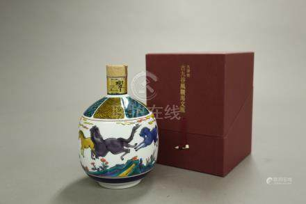 響21年 九谷燒-古九谷風駿馬紋瓶