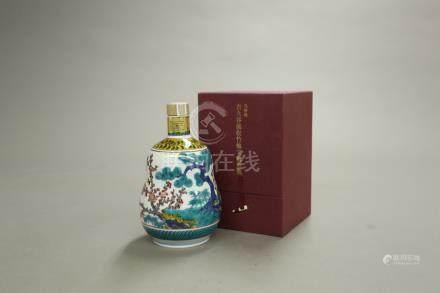 響21年 九谷燒-古九谷風松竹梅紋瓢形瓶