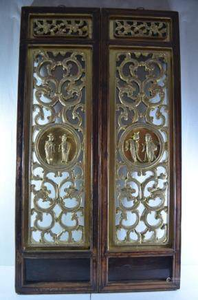 19thC Pair Old Chinese Wood Carved  Gilt Panels