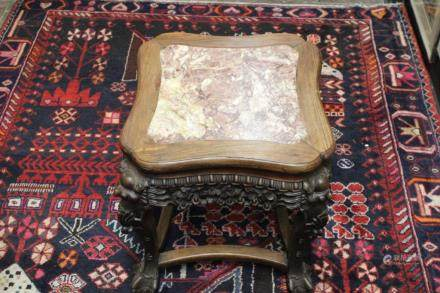 Chinese Wood Stand W Marble Top