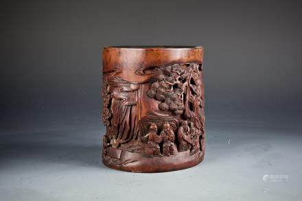 A BOMBOO CARVED BRUSH POT